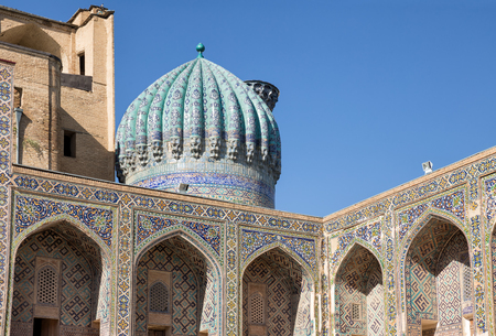 second floor: Dome and gallery on the second floor of Madrasah Sher-Dor courtyard. Samarkand, Uzbekistan