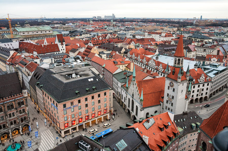 old town hall: MUNICH, GERMANY - JANUARY 09, 2011 - Aerial view on Marienplatz and Old Town Hall Editorial