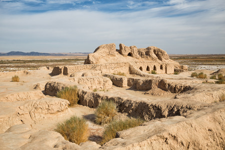 Ruins of the Fortress Toprak-Kala of Ancient Khorezm in Kyzylkum desert. Uzbekistan