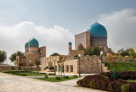 xv century: Ancient complex Dorut Tilavat XIV-XV century and new park around it. Shakhrisabz, Uzbekistan.