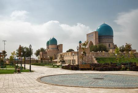 xv century: Shakhrisabz, Uzbekistan. Ancient complex Dorut Tilavat XIV-XV century and new park around it