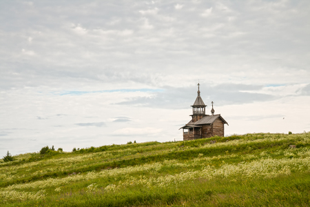 Old wooden church on the hill, chapel Holy Face, Kizhi island, Karelia, Russia