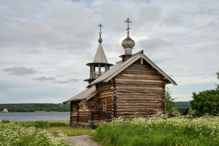 onega: Old wooden church, The Dormition Chapel, Kizhi island, Karelia, Russia