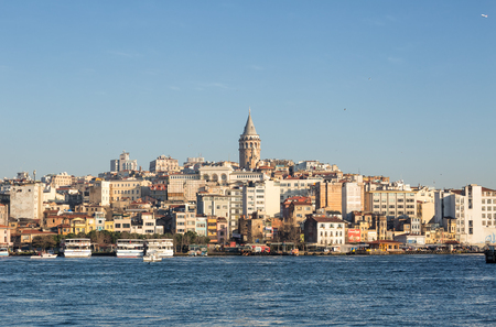 ISTANBUL, TURKEY - JANUARY 11, 2015 - The view of the Golden horn and Galata tower Editorial