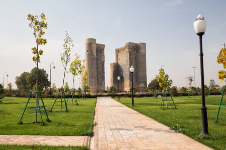 SHAKHRISABZ, UZBEKISTAN - OCTOBER 23, 2016: The ruins of Ak-saray Timurs palace and the new park around it. Shakhrisabz. Editöryel