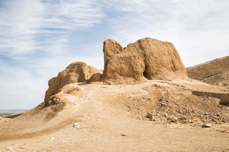 Ruïnes van het fort Nur, het werd gesticht door Alexander de Grote. Nurata, Oezbekistan Stockfoto