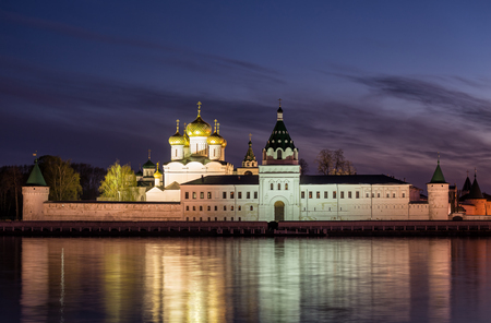 kostroma: Illuminated Ipatievsky monastery in the evening, view across the river Kostroma. Russia