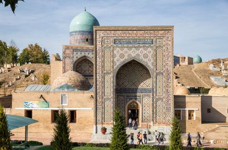 SAMARKAND, UZBEKISTAN - OCTOBER 15, 2016:  People visit the memorial complex Shah-I-Zinda