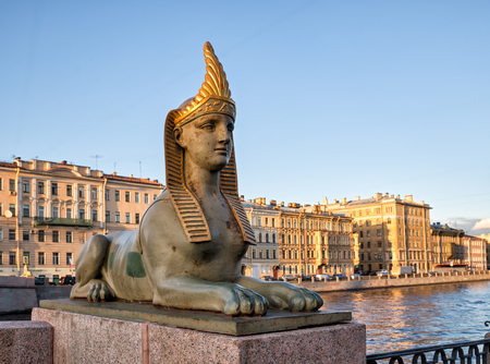 One of the four sculptures of the Sphinxes located at the Egyptian Bridge, St. Petersburg, Russia