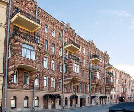 Old apartment house of M. A. Makarov ( built in 1881-1882) on the Griboyedov canal, Saint Petersburg, Russia