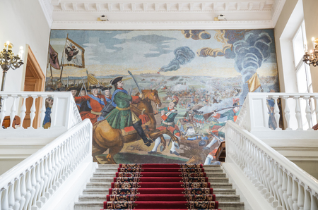 SAINT-PETERSBURG, RUSSIA - NOVEMBER 08, 2017: Interior of the Academy of Sciences. Mosaic painting by MV Lomonosov Poltava Battle (1764) on the front staircase Redakční