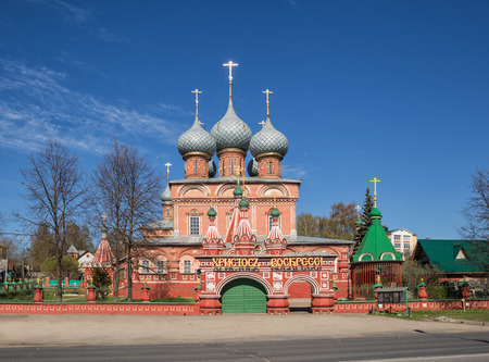 Ancient church at the bottom of Debre in Kostroma during the Easter week. Above the entrance there is the inscription Christ is Risen
