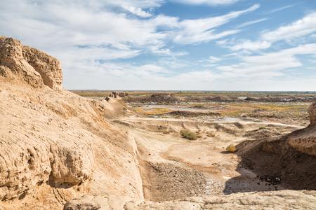 Ruins of the Fortress Toprak-Kala of Ancient Khorezm in Kyzylkum desert, Uzbekistan Stok Fotoğraf