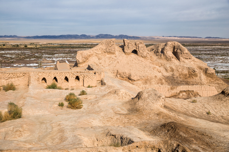 Ruins of the Fortress Toprak-Kala in Kyzylkum desert, Uzbekistan