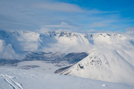 Winter mountain landscape. Khibiny, view from mount Kukisvumchorr