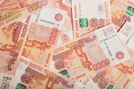 Background of five-thousandth banknotes Russian rubles