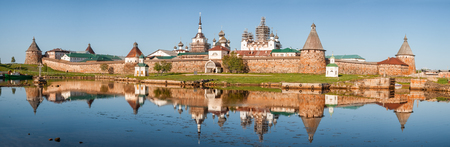 Panoramic view on Solovetsky Monastery from the Bay of well-being, Russia.