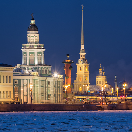 Saint-Petersburg, Russia. Evening view of the illuminated sights - Kunstkamera, Rostral column, Peter and Paul Fortress Stock Photo