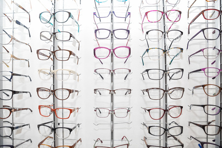 Rack with spectacle frames in an opticians shop