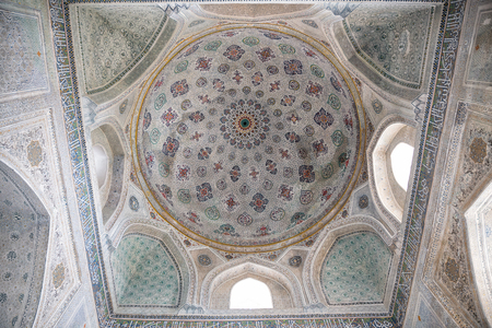 SHAKHRISABZ, UZBEKISTAN - OCTOBER 16, 2016: Interior painting in mausoleum of Gumbaz Sayidan, Dorut Tilovat complex
