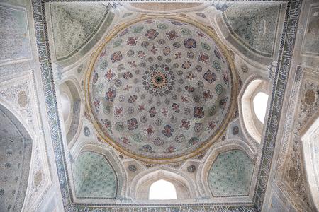 SHAKHRISABZ, UZBEKISTAN - OCTOBER 16, 2016: Interior painting in mausoleum of Gumbaz Sayidan, Dorut Tilovat complex