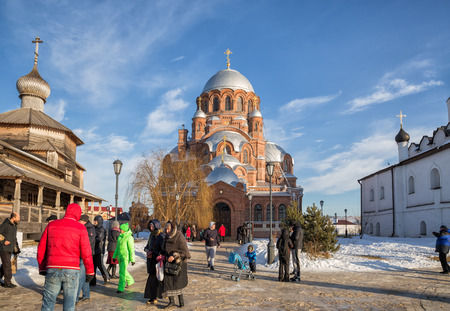 SVIYAZHSK, RUSSIA - JANUARY 05, 2018: People go to the temple on Christmas eve. Saint John the Baptist Monastery