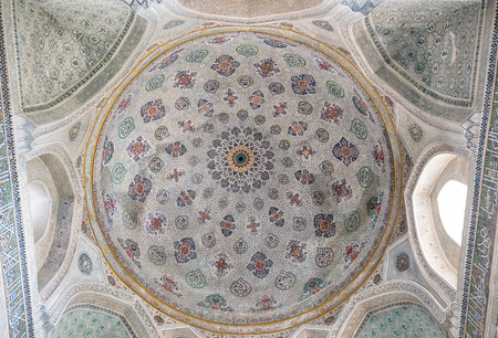 SHAKHRISABZ, UZBEKISTAN - OCTOBER 16, 2016: Painted dome in the mausoleum of Gumbaz Saidan, Dorut Tilovat complex