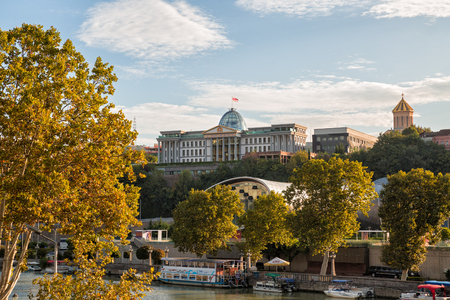 TBILISI, GEORGIA - OCTOBER 03, 2018: Presidential Palace on high hill on banks of the Kura River.