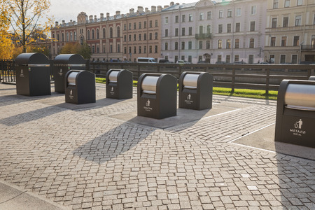 ST. PETERSBURG, RUSSIA - OCTOBER 16, 2018: New Holland. Containers for separate collection of garbage Editorial