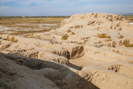 Ancient fortress Toprak-Kala (Toprak Qala) in Kyzylkum desert, Karakalpakstan, Uzbekistan, Central Asia
