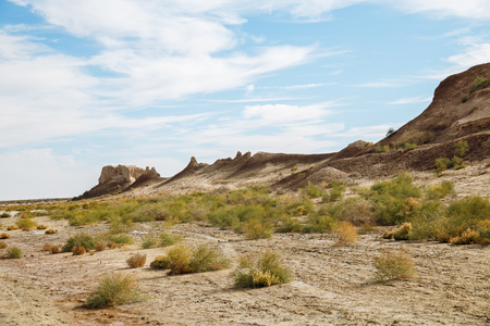 View of walls of ancient fortress Toprak-Kala (Toprak Qala) in Kyzylkum desert, Karakalpakstan, Uzbekistan, Central Asia