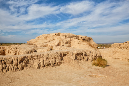 Ruins of the Toprak-Kala fortress in Kyzylkum desert, Karakalpakstan, Uzbekistan, Central Asia
