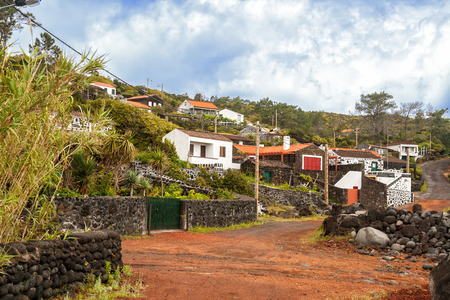 Village with traditional lava stone houses on Pico Island, Azores
