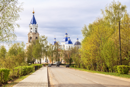 Scenic cityscape Kashin town in spring, view of the Resurrection Cathedral, Tver region, Russia Фото со стока
