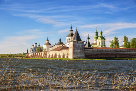 View of the Kirillo-Belozersky Monastery on shore of Siversky Lake, Kirillov, Vologda region, Russia