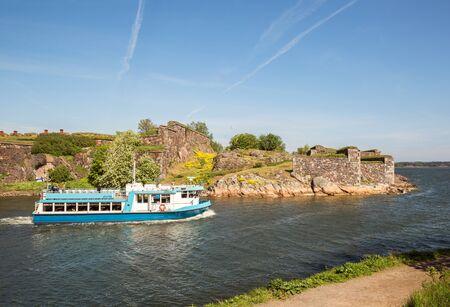 HELSINKI, FINLAND - MAY 23, 2019: Passenger ferry JT-Line transporting tourists from Helsinki to Suomenlinna and back Redakční
