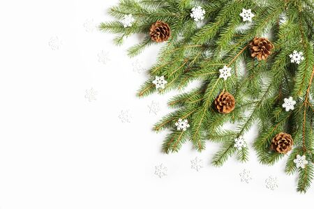 Christmas tree branch decorated with cones and snowflakes on a white background Standard-Bild
