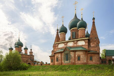 Temple architectural ensemble in Korovniki, Yaroslavl, Russia. Church of St. John Chrysostom and Church of the Vladimir Icon of the Mother of God