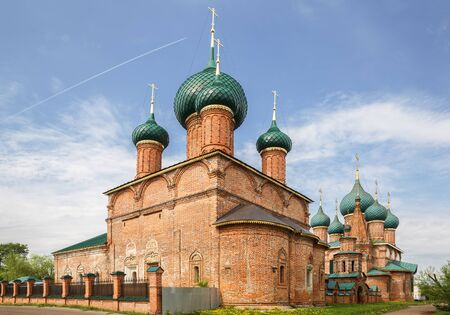 Church of the Vladimir Icon of the Mother of God and Church of St. John Chrysostom. Temple architectural ensemble in Korovniki, Yaroslavl, Russia 写真素材