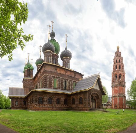 Yaroslavl, the Church of St. John the Baptist in Tolchkovo. Beautiful old 17th century red brick temple and bell tower. Golden ring of Russia