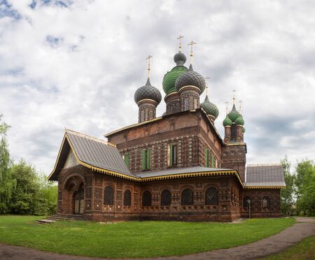 Yaroslavl, the Church of St. John the Baptist in Tolchkovo. Beautiful old 17th-century temple made of red curly brick with tiles. Golden ring of Russia