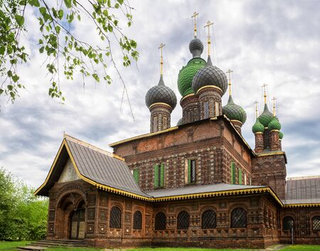 Yaroslavl, the Church of St. John the Baptist in Tolchkovo. Beautiful old 17th-century temple made of red curly brick with tiles