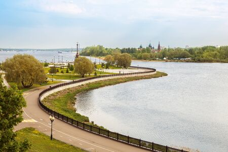 View of the confluence of the Volga and Kotorosl rivers, Strelka Park and the temple complex in Korovniki, Yaroslavl, Russia