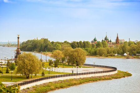 View of Strelka Park, monument to the 1000th anniversary of Yaroslavl and temple complex in Korovniki. Confluence of Volga and Kotorosl rivers, Yaroslavl, Russia