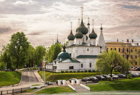 Church of the Transfiguration of Our Savior on the City built in 1672. Big beautiful white-stone temple, Yaroslavl, Russia 写真素材