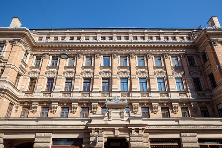 Facade of the apartment building G. Eliseev built in 1891-1892 by architect Baranovsky in the eclectic style. Residential building, St. Petersburg, Russia 報道画像