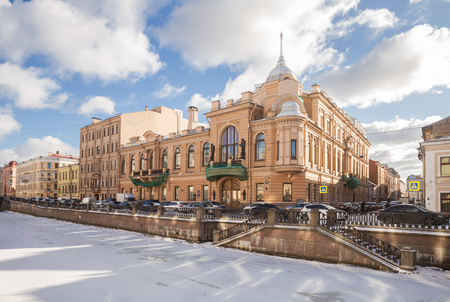 ST. PETERSBURG, RUSSIA - FEBRUARY 21, 2019: Former building of the Catherine's public meeting on embankment of the Griboedov Canal, built in 1905-1907. Now government building of St. Petersburg