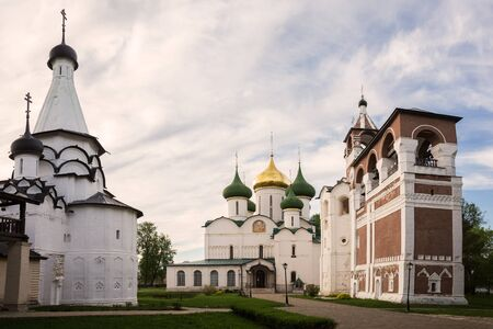 Spaso - Evfimievsky monastery (Saviour Monastery of St. Euthymius). Transfiguration Cathedral in center, Bell tower with Church of Nativity of John the Baptist on right, Refectory of Assumption of Ble