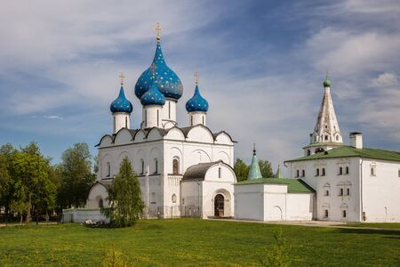 Suzdal, Golden Ring of Russia. Cathedral of Nativity of the Blessed Virgin Mary was built in 1222-1225. in d. Traditional Russian temple architecture