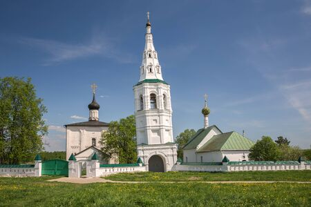 Architectural ensemble of the Borisoglebsky Monastery with a falling bell tower. Kideksha village, near city of Suzdal, Golden Ring of Russia